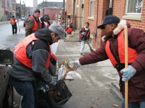 Youth volunteering for neighborhood cleanup at Martin Luther King Jr. Day of Service